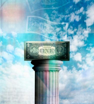 dollar bill on pedestal